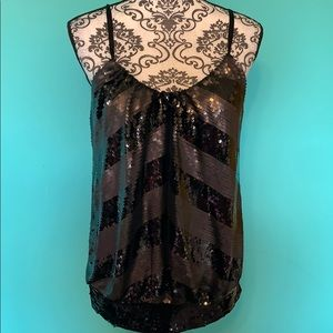 Bebe Sequin Stretch Tank Top Party Blouse S